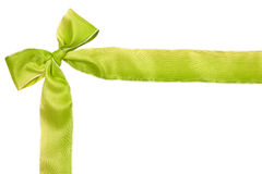 Green ribbon holiday background. Green ribbon on white background with copyspace for your text Stock Image