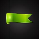 Green ribbon. Over black background, vector illustration Stock Photography