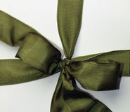 Green ribbon over white Stock Images