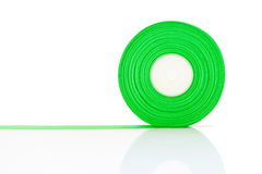 Green ribbon Roll isolated Royalty Free Stock Photography