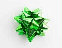 Green ribbon satin bows isolated. On white Stock Photos