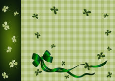Green ribbon and shamrocks Royalty Free Stock Photography