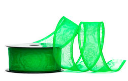 Green ribbon on spool Royalty Free Stock Photos