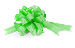 Green ribbon on white Stock Photos