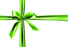 Green ribbon on white background Stock Photos