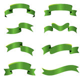 Green ribbons. Collection of vector curves ribbons in different shape Stock Photography