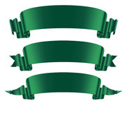 Green ribbons banners set flat isolated on on the white background. Vector illustration Royalty Free Stock Images