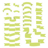 Green ribbons, big set of hand drawn design element, flag, arrow, banner, label  on white Royalty Free Stock Photo