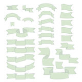 Green ribbons, big set of hand drawn design element, flag, arrow, banner, label  on white Royalty Free Stock Images