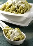 Green ribbons with cheese sauce Royalty Free Stock Photo