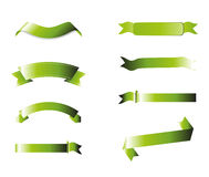 Green Ribbons Collection, Isolated On White Backgr. Ound, Vector Illustration Stock Photos