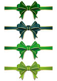 Green ribbons set with bows to St. Patricks Day. Set of green bows  on white. Vector scalable green ribbons with bows. Green ribbons in different shades isolated Stock Images