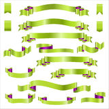 Green Ribbons Set With Gradient, Vector Illustration Royalty Free Stock Images