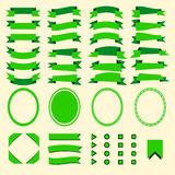 Green ribbons and web elements  set Stock Image