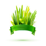 Green ribon with realistic grass illustration Stock Images
