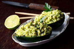 Green rice with avocado, parsley and lime Royalty Free Stock Photo