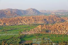 Green rice fields or terraces in the village of Hampi. Palm trees, sun,rice fields, large stones in Hampi. Tropical exotic. Landscape. Beautiful green valley stock photography