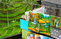 GREEN RICE TERRACES AND PAINTINGS IN BALI. Green terraced rice fields with paintings for sale in Bali, Indonesia Stock Photography