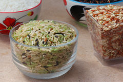 Green Rice on Wood Stock Photography