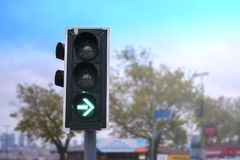 Green Right Arrow Traffic Light Royalty Free Stock Images