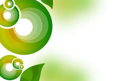 Green ring and leaves abstract background Stock Photos
