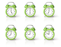 Green ringing alarm clock Royalty Free Stock Photos