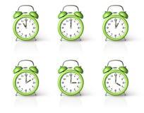 Green ringing alarm clock Stock Photography
