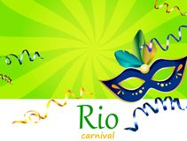 Green Rio carnival background with blue mask. Green Rio carnival background with blue festive mask and color serpentine. Vector illustration Stock Photos