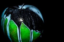 Green Apple on black background royalty free stock photo