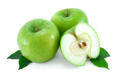 Green, ripe apples. Stock Photo