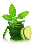 Green ripe Cucumber slices Royalty Free Stock Images