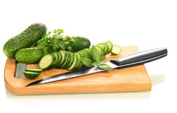 Green ripe Cucumber slices Stock Images
