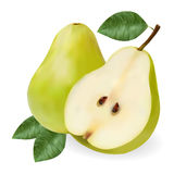 Green ripe pear with a leaf and a half. On a white background Stock Photos