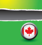 Green ripped banner with canadian flag Royalty Free Stock Images