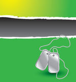 Green ripped banner with dog tags Royalty Free Stock Images