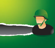 Green ripped banner with military soldier vector illustration