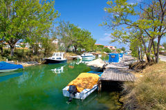 Green river boats in Croatia Royalty Free Stock Images