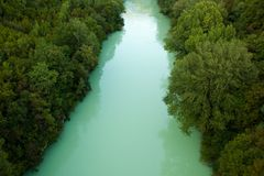 Green river. Downward view of Soca river from Solkan bridge, Slovenia Royalty Free Stock Photography