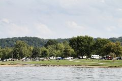 Green River Lake State Park Campground. Green River Lake State Park Taylor County Kentucky August 13, 2017.  People camping during the weekend Stock Photo