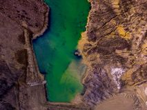 Drone View of River Shore. Green river shore and beach shot by a drone Royalty Free Stock Images