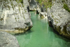 Green River Soca in Slovenia. One of the most beautiful rivers in Europe, the Soca River in Slovenia, its color and beauty are unique and special .... Here we Stock Photo