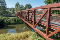 Green River Walking Bridge 2. A metal walking bridge spans the Green River in Washington State Royalty Free Stock Image