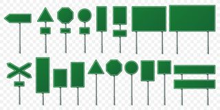 Green road sign board. Direction signs boards on metal stand, empty pointer post and directing signboard isolated vector royalty free illustration