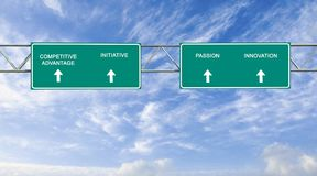 Road sign to Competitive Advantage. Green road sign to Competitive Advantage Royalty Free Stock Images