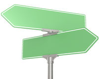 Green Road signs. Blank directional road signs. Green for Copy Space. Isolated Royalty Free Stock Photo