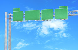 Green road signs. Isolated against the sky Royalty Free Stock Photos