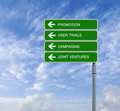 Road signs to promotion Stock Images