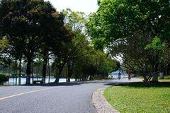 Green Road. In spring, it was taken in Songshan Lake Ecological Garden in Dongguan Stock Photos