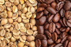 Green and roasted coffee beans Stock Photo