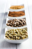 Green, roasted, ground and instant coffee Stock Photo